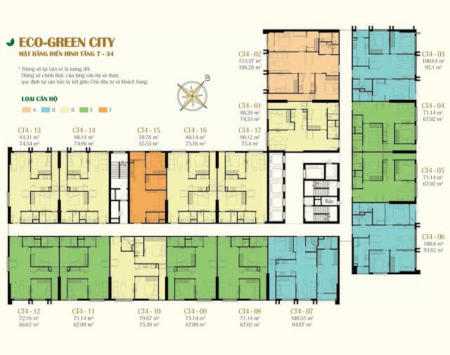 Mặt bằng tòa CT4 Eco Green City