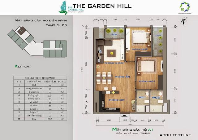 Căn A1 tầng 6 đến 25 garden imperia - 99 trần bình