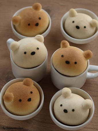 overhead photo of six Bears in Tea Cups