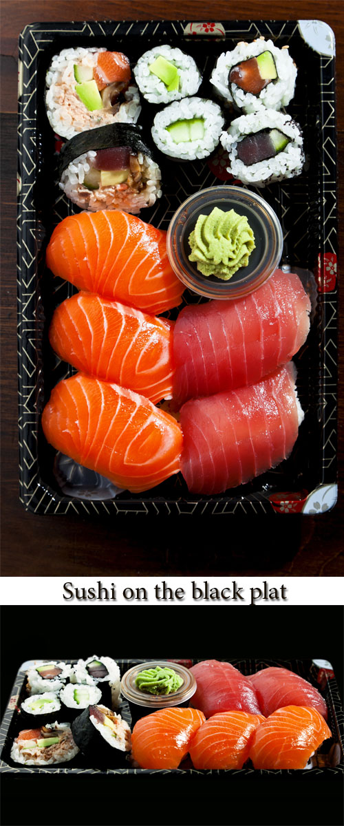 Stock Photo: Sushi on the black plat