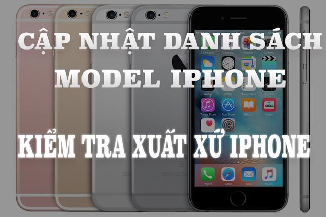 Danh sách model iphone