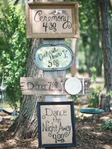 Carteles indicativos para boda