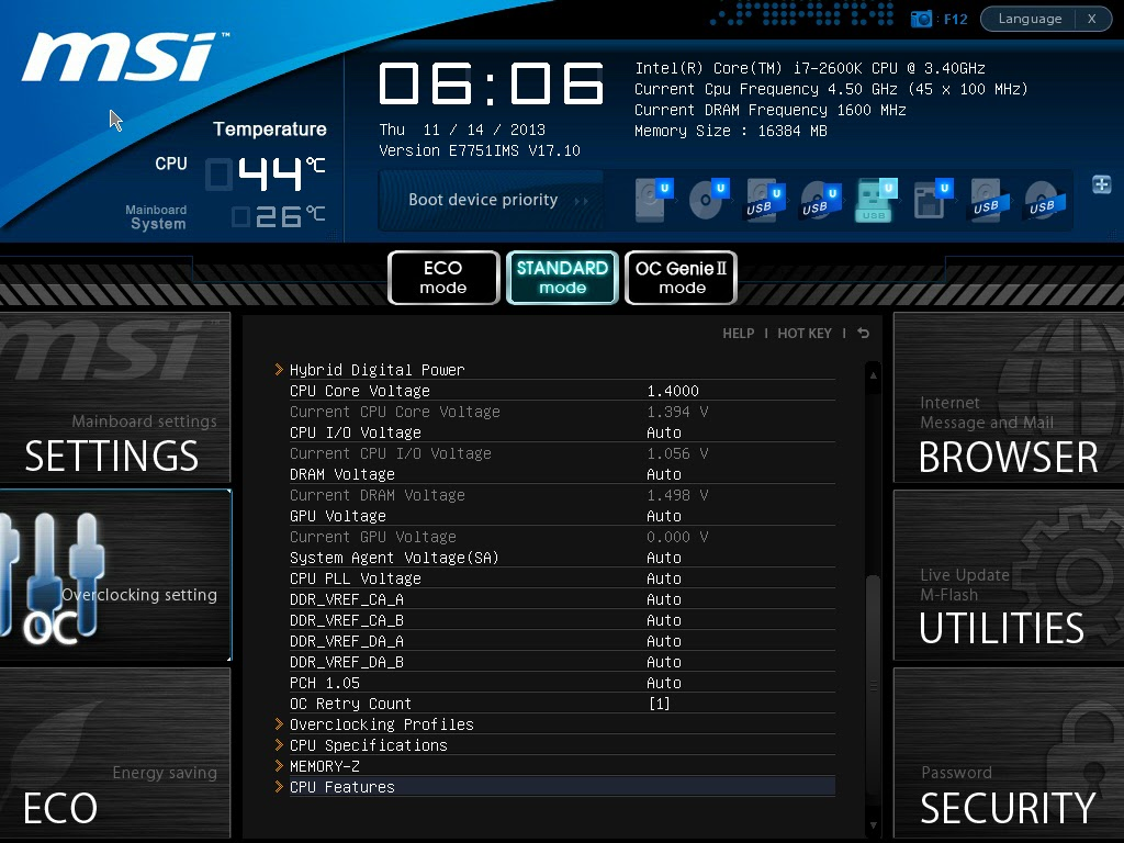 Z77 MPOWER Overclocking Issue