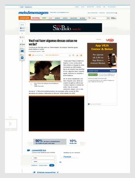 """Matéria sobre o comercial no site do """"meio&mensagem"""", conceituado jornal com informações do meio publicitário."""