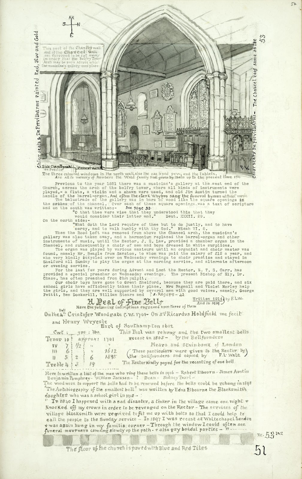 A Record of Shelford Parva by Fanny Wale P51 fo. 52, page 51: A black and white watercolour painting of the church interior with information of the interior of the church, 1914. Underneath that is information on the bells and ringers of 'All Saints Church'. [fo.41, but lacking tile design at the foot, and within mount E]