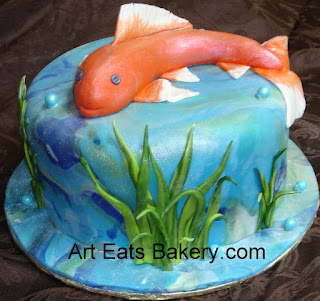 Custom designed Koi pond fondant birthday cake with sugar fish topper