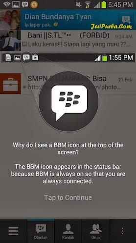Halaman Pemberitahuan Ikon Real Time Online BBM For Android