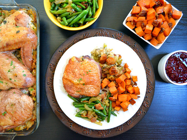 top view of thanksgiving dinner on plate
