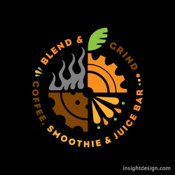 Blend & Grind is a smoothie, coffee, and juice bar. Logo design Raleigh, NC.