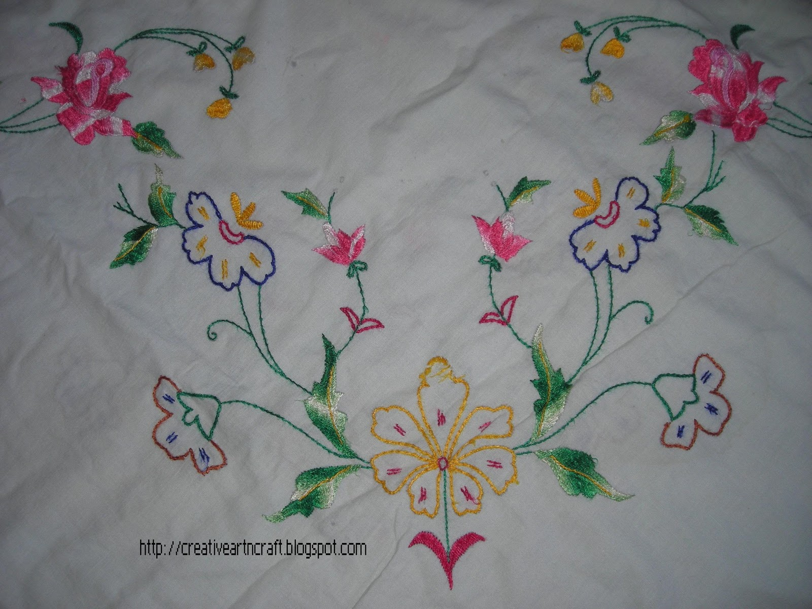 Anu S Art And Crafts Hand Embroidery On Bed Sheet