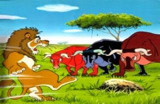 El león y los tres bueyes