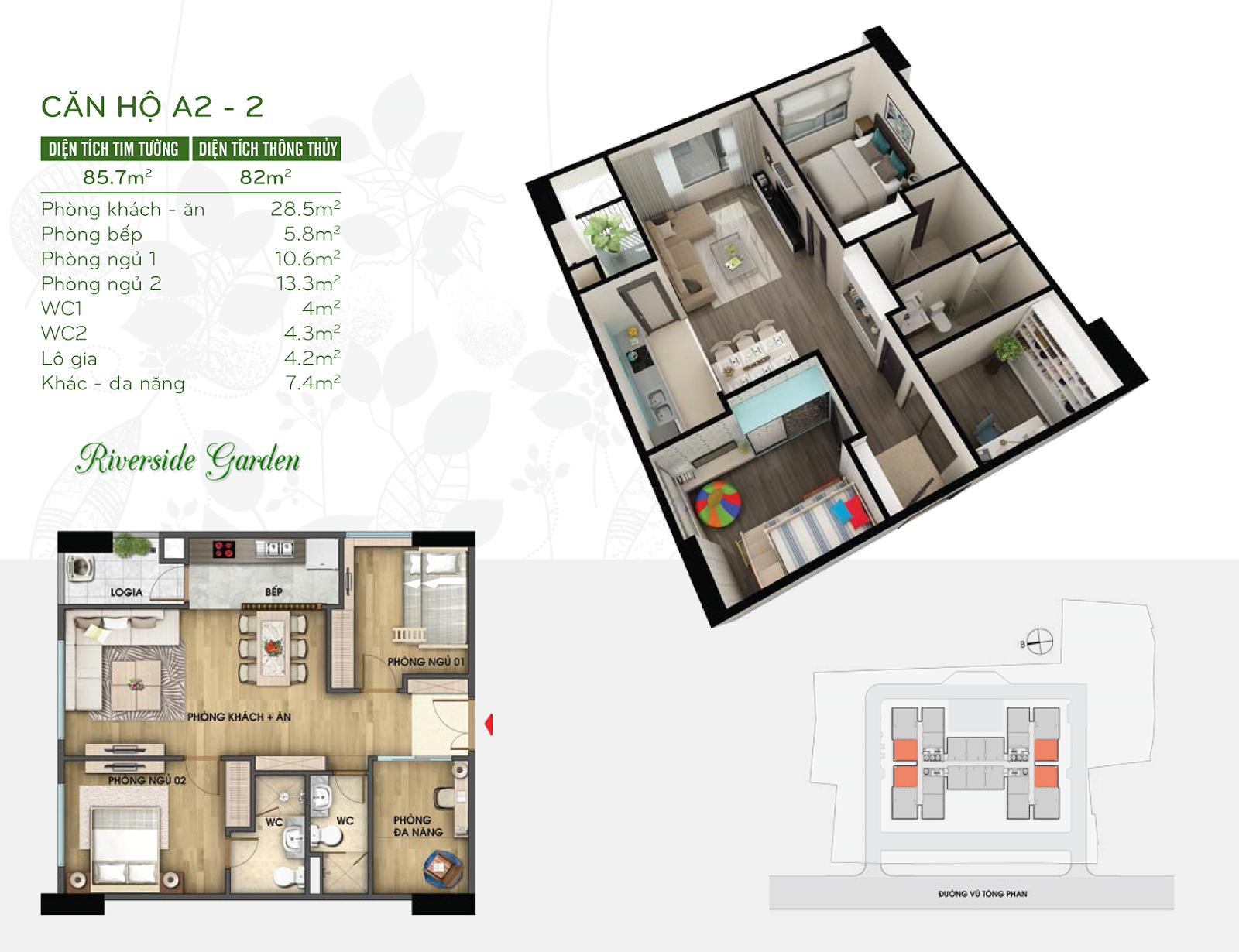 Thiết kế căn hộ 82m2 chung cư Riverside Vũ Tông Phan