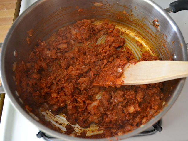 tomato paste added to pot