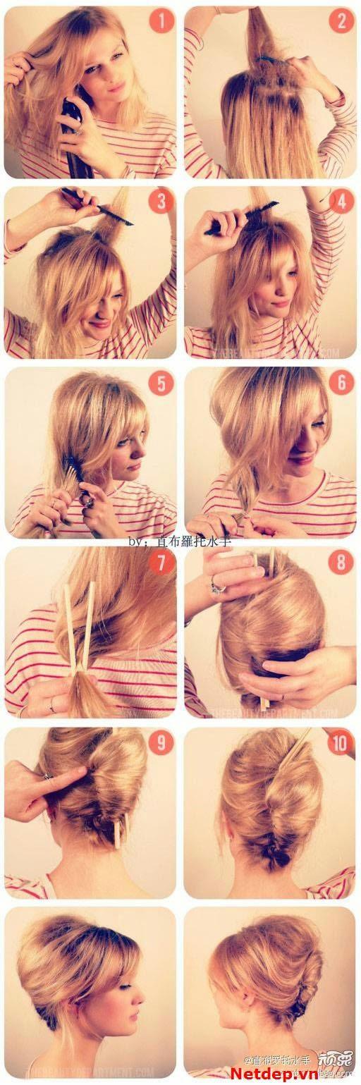 Kiểu tóc búi ống cuộn dễ dàng hơn với chiếc đũa