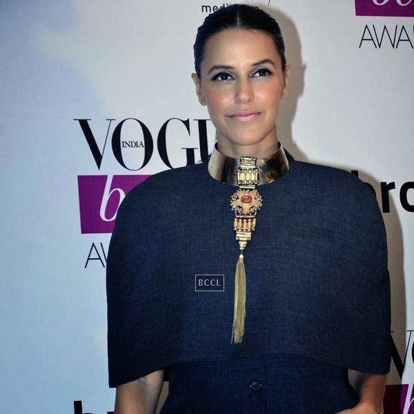 Neha Dhupia arrives for Vogue Beauty Awards 2014, held at Hotel Taj Lands End in Mumbai, on July 22, 2014.(Pic: Viral Bhayani)
