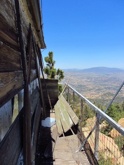 fallen shutters along the side of the lookout