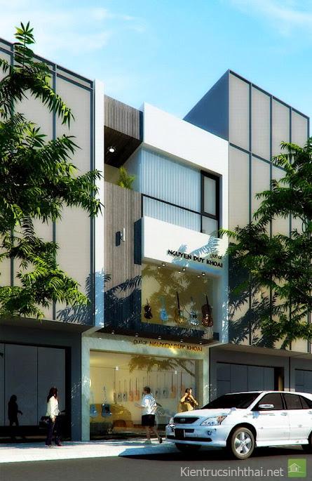 Trên đây là mẫu thiết kế nhà phố kết hợp vừa ở vừa làm cửa hàng kinh doanh.