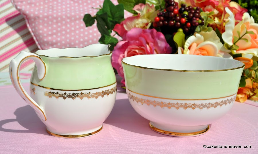 Roslyn China Green and Gold Creamer and Sugar Bowl