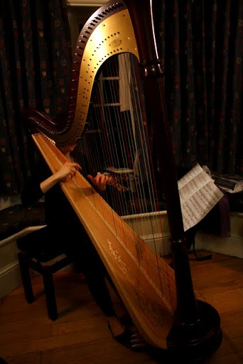 Harpist at Newnham College at Cambridge University