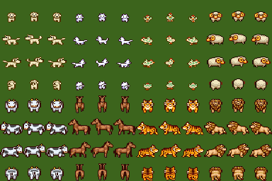 Animals Character Set (RMVX/VXA)