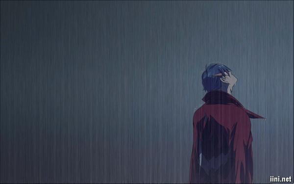 ảnh hoạt hình chàng trai buồn trong mưa