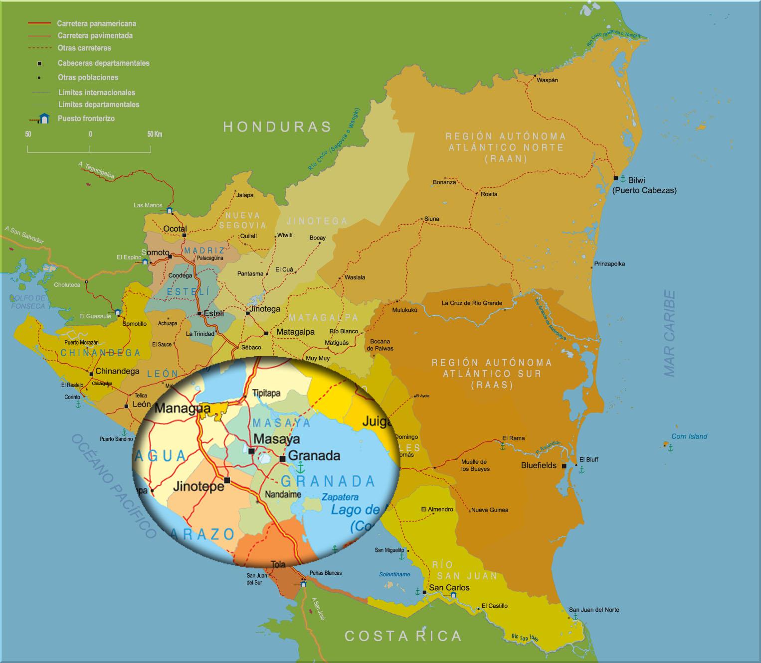 Map Of Granada Nicaragua Tidal Treasures - Nicaragua map