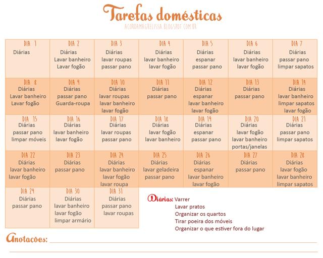 Criar rotina doméstica casa organizada Cronograma