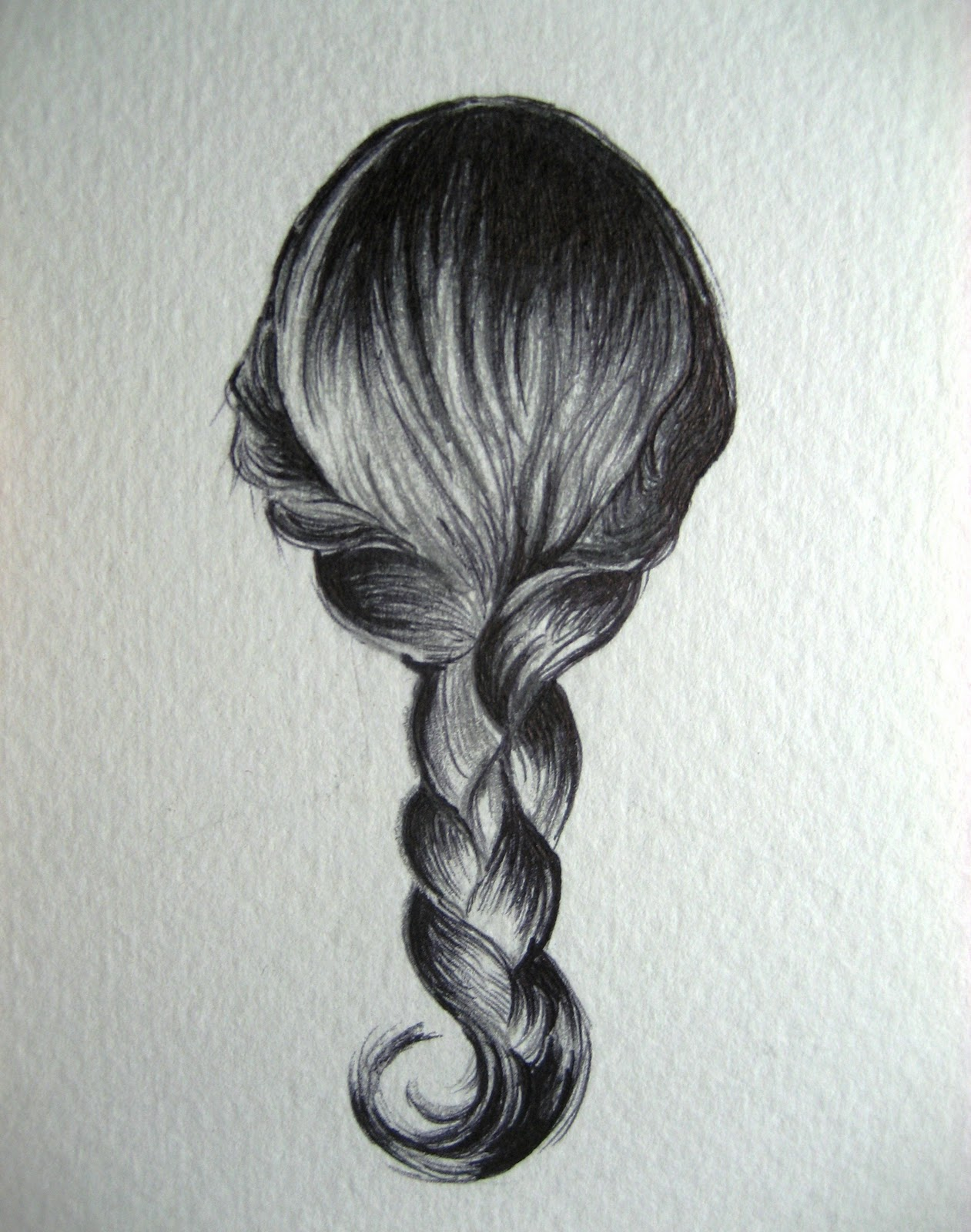 how to draw a hair plait