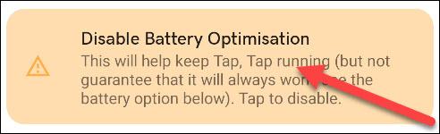 onemogućiti natpis za optimizaciju baterije