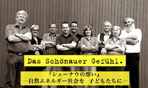 Film-Plakat: Selbstbewusste Frauen und Männer mit verschränkten Armen und zufriedenen Gesichtern. Beschriftet in deutsch und japanisch: »Das Schönauer Gefühl.«.