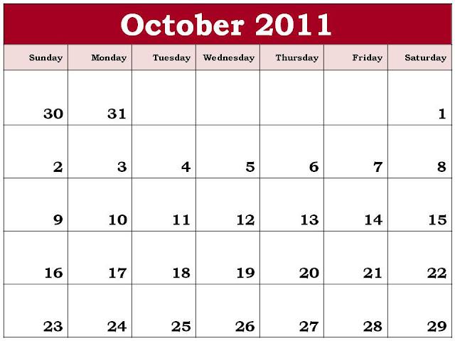 october 2011 calendar. Planner 2011 October:
