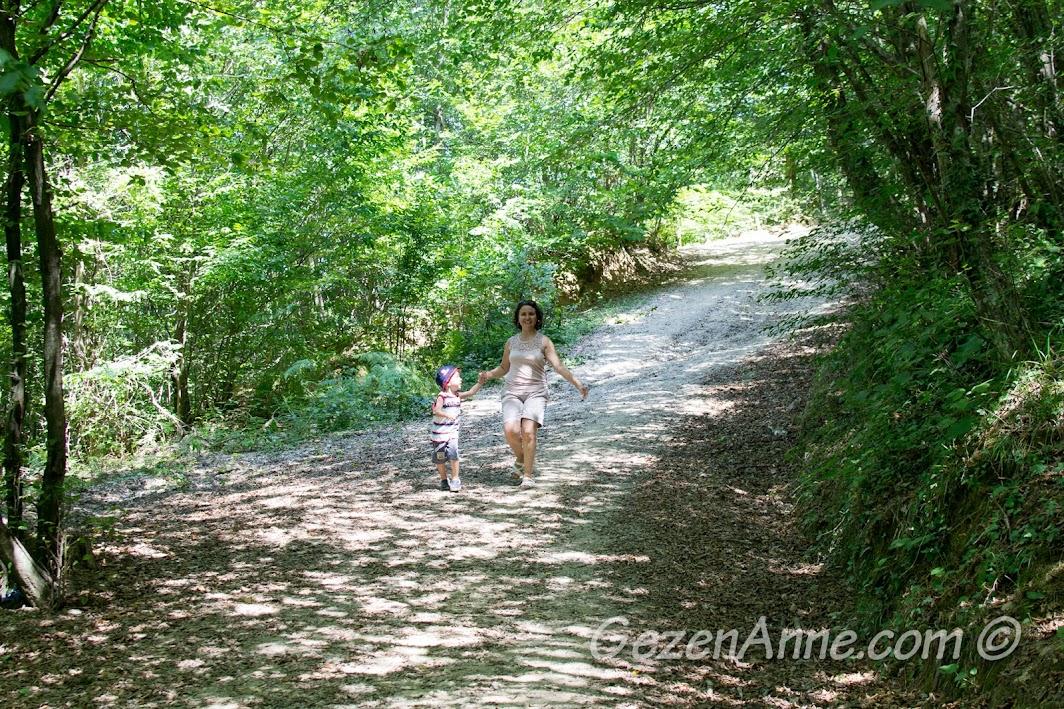 Polonezköy Tabiat Parkı'nda giderken, köprüye varmadan hemen önce