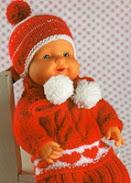 Красный свитер с сердечками