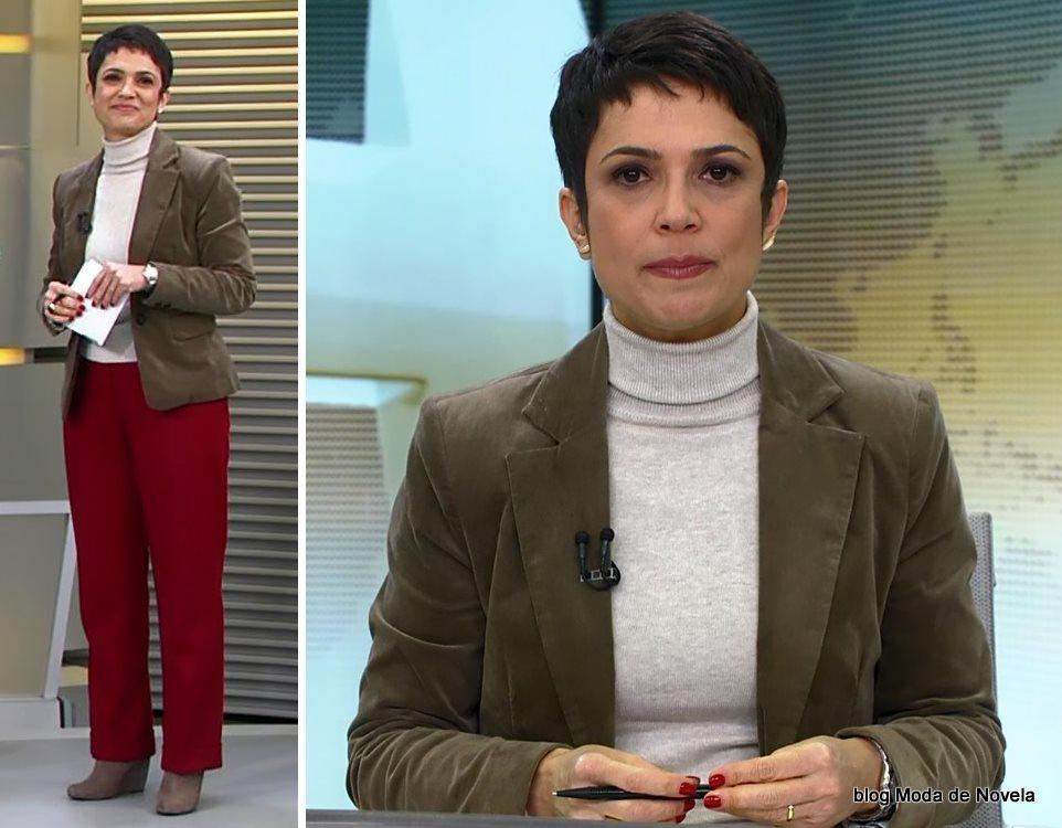 moda do programa Jornal Hoje - look da Sandra Annenberg dia 10 de julho