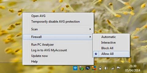 matikan firewall