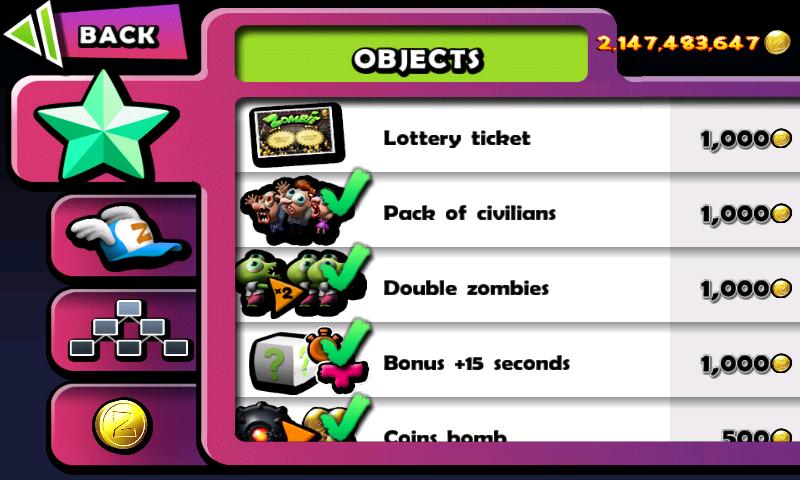 Zombie Tsunami (di crack dengan cara yang sama) scorenya 2,147,483,647 (pojok kanan atas)