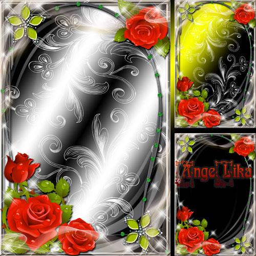 Цветочная рамка с красными розами - Символ любви
