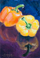 """Gelbe Paprika"" 29,5x20,3cm Öl auf Bord"