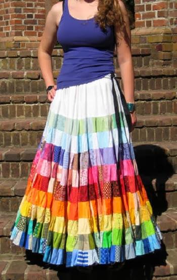 inspiração: arco-íris - saia colorida patchwork com retalhos
