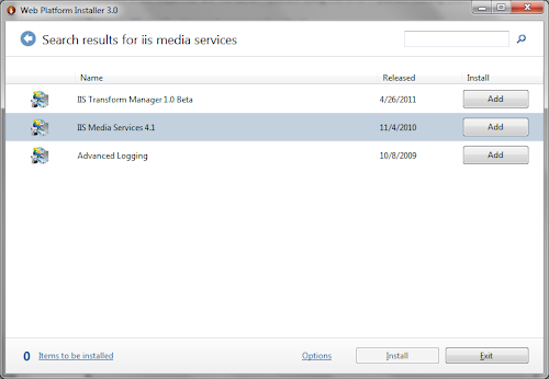Web Platform Installer IIS Media Services 4.1
