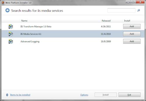 Web Platform Installer IIS Media Services 4.1