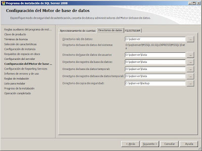 Instalar Microsoft SQL Server 2008 Express with Advanced Services x64 en Microsoft Windows Server 2008 R2 x64