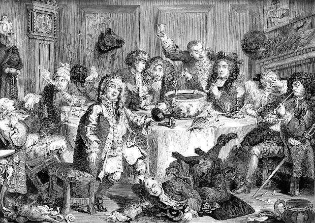 A Midnight Modern Conversation (1733) by William Hogarth