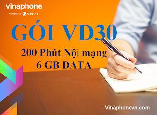 Ưu đãi 6GB data và 200 phút gọi miễn phí với gói cước VD30 Vinaphone