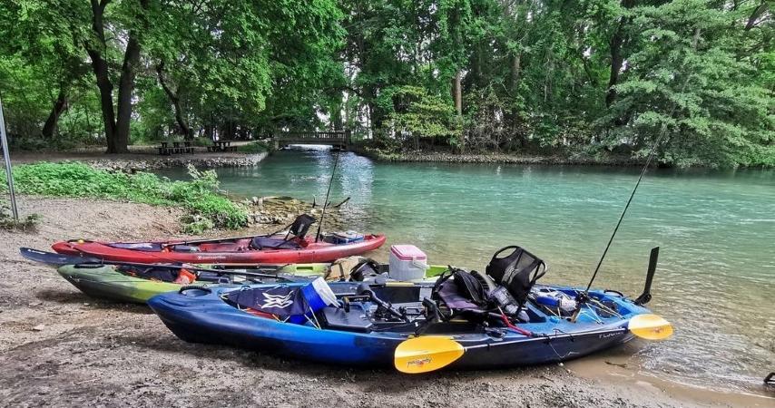 Kayaks on Peche Island near Detroit