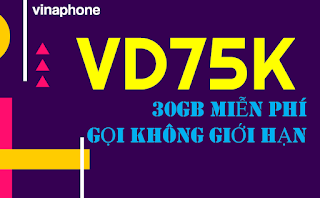Miễn phí 30GB, Gọi không giới hạn với gói VD75K Vinaphone
