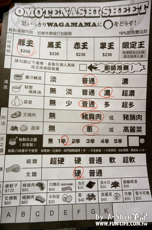 Nagi凪豚王拉麵 菜單 Menu