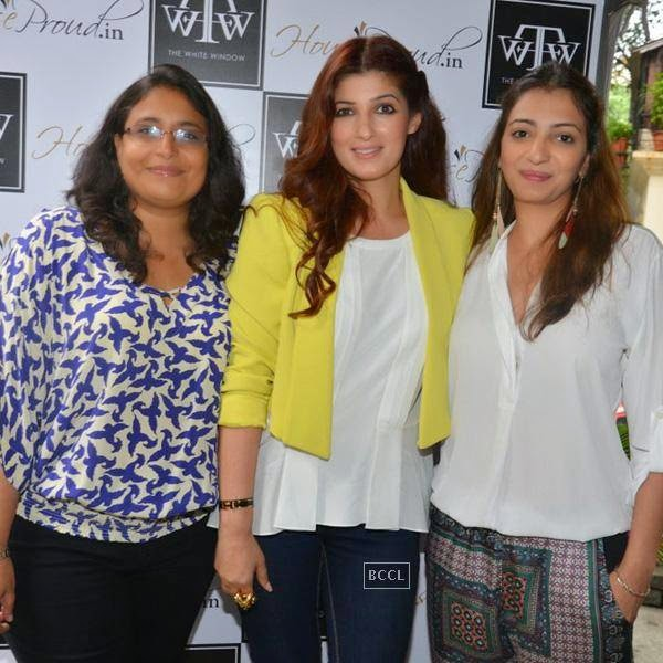 Sanvari Alagh, Twinkle Khanna and Anjori Alagh during the preview of Flower Power Collection, held at The White Window store, in Mumbai, on July 31, 2014. (Pic: Viral Bhayani)