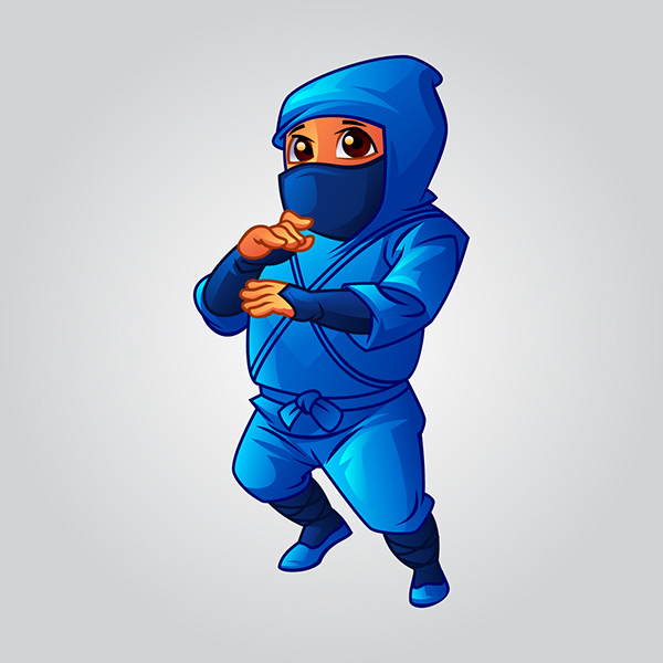 cartoon cute ninja baby boy illustration