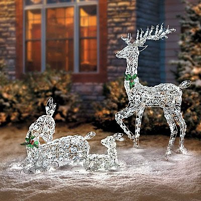 Lighted Wireframe Reindeer Family - Improvements